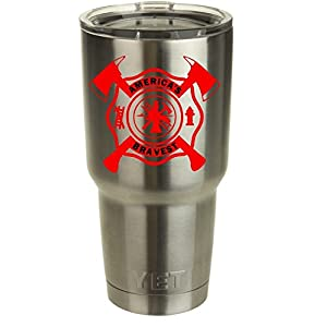 Firefighter Maltese Cross with Crossed Axes Decal | Works on YETI, RTIC, Coffee Mug, Auto, Mobile