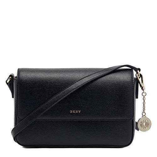 (DKNY Saffiano Leather Bryant Flap Crossbody (Black))