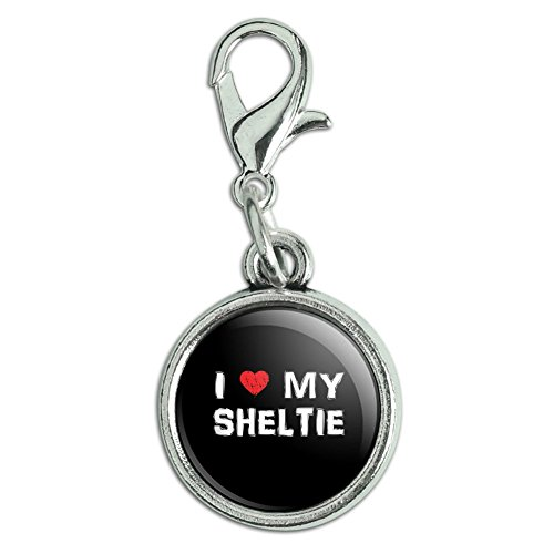 Antiqued Bracelet Pendant Zipper Pull Charm with Lobster Clasp I Love My Dog P-S - Sheltie