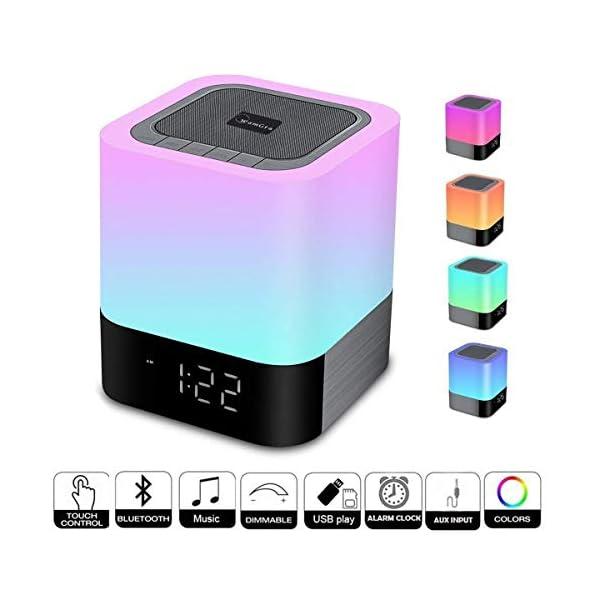 Enceinte Haut-parleur Bluetooth Portable Lampe de Chevet LED avec Contrôle Tactile, Lampe de Table Couleur Changeant la Lumière de Nuit avec le Réveil pour la Chambre 1