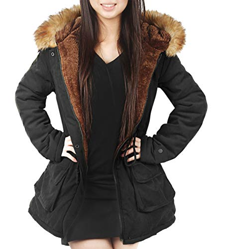 4HOW Womens Parka Jacket Hooded Long Winter Coat Faux Fur Trim Parkas Outdoor Fashion Coat Black Size 14