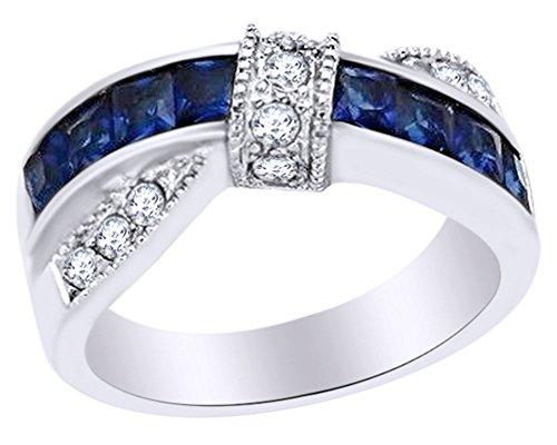 Imitación de zafiro azul y blanco Zirconia cúbico anillo de moda en oro de 14K sobre plata de ley (1,75quilates)