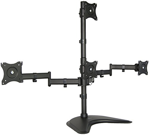 - Quad LCD Monitor Desk Stand Mount Free-Standing 3 + 1 = 4 / Holds Four Screens up to 27