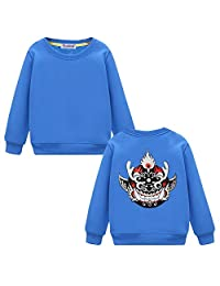 Black Temptation Embroidered Pullover Sweatshirt for Boys Girls, Stylish[Flame Mask]