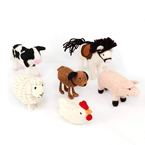 - B & D Combined Inc needle felt Animal, Needle Wool Domestic Fowl Ornament, White Rooster, Horse, Sheep, Pink Pig, Cow, and Dog, set of 6 pieces, packed into Brown Craft Box with Transparent PVC Cover.