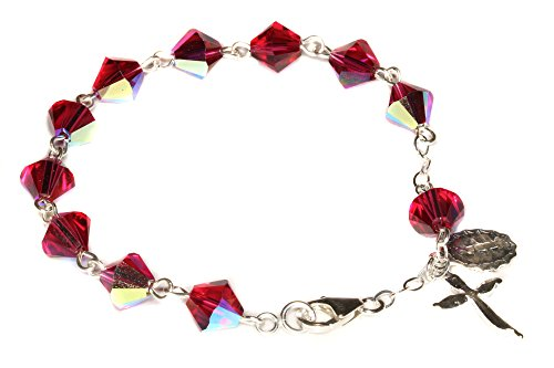 Swarovski Cross Rosary - Womens Rosary Bracelet Made w/Ruby Red AB Swarovski Crystals (July) - Confirmation, RCIA, Valentine's, Birthday, More