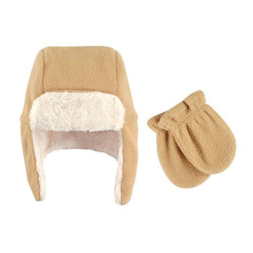 Hudson Baby Baby Fleece Trapper Hat and Mitten Set, Tan, 6-12 -