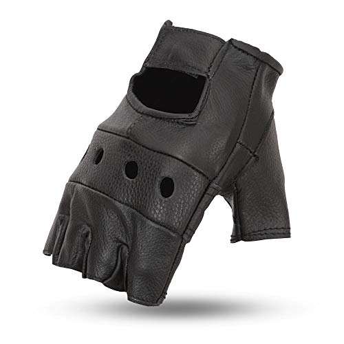 58f16e960 First Manufacturing Mens Snap Leather Fingerless Motorcycle Gloves (Black,  Large)
