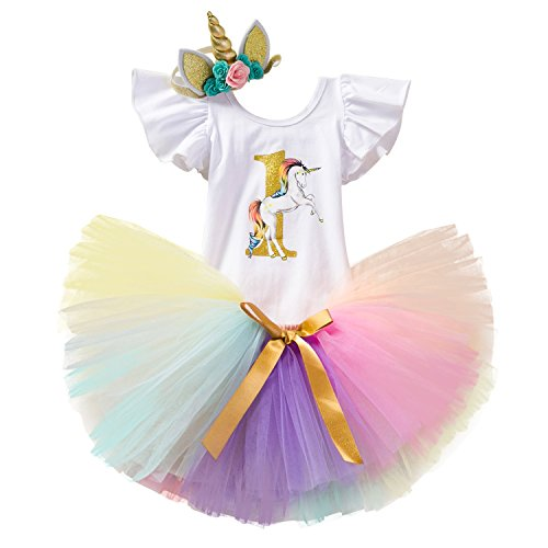TTYAOVO Baby Girl 1st Birthday 3pcs Unicorn Outfits with Headband & Romper & Skirts Size 1 Years -