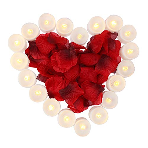 obmwang Pack of 24pcs Realistic Flameless LED Tea Light Candles and 1000pcs Dark Silk Rose Petals Artificial Red Rose Flower Petals, Ideal for Valentine