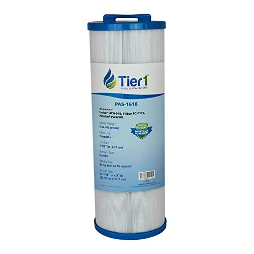 Tier1 Waterway 817-4050 Spa Filter, Teleweir 50, Pleatco PWW50L, Filbur FC-0172, Unicel 4CH-949 Comparable Replacement Spa Filter -