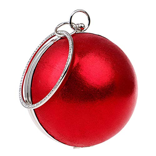 Handle Pearl Women's Diamond Appointment Evening Type RLF Round Clutches LF Package Hard Solid Bag By Banquet Red Color Cover Handbags Flash EEwpg0