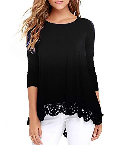 Long Sleeve Sweatshirt for Women Lace Trim O-Neck Tunic Loose Blouse Black