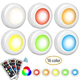 LED Closet Lights Wireless Colors Changing LED Puck Lights 6 Pack with 3 Remote Control Under Cabinet Lighting Battery Powered Dimmable Night Lights & Timing Function