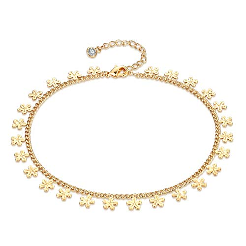 Flower Anklet, Summer Women Daisy 14k Plated Yellow Gold Summer Beads Handmade Dainty Jewelry Adjustable Foot Chain Handmade Anklet Bracelet for Womens