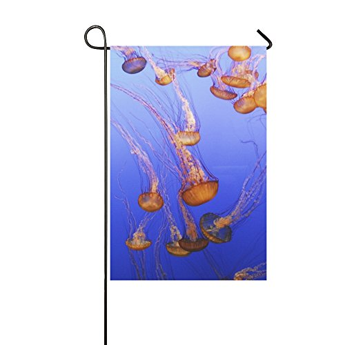 Home Decorative Outdoor Double Sided Jellyfish Aquarium Fish Ocean Sea Jelly Monterey Garden Flag,house Yard Flag,garden Yard Decorations,seasonal Welcome Outdoor Flag 12 X 18 Inch Spring Summer Gift