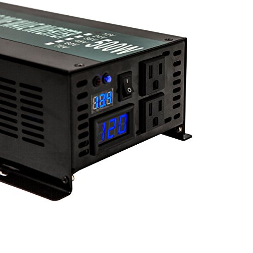 Reliable 800W LED Display Home Generator True Pure Sine Wave Solar Power Inverter Off Grid DC to AC 24V 120V Converter (Black) by WZRELB (Image #4)