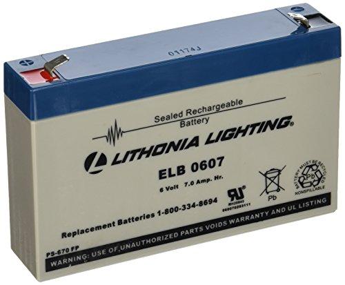 Emergency Flush - Lithonia Lighting ELB 0607 6V Emergency Replacement Battery