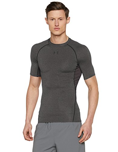 Under Armour Men's HeatGear Armour Short Sleeve Compression Shirt, Carbon Heather/Black, X-Small