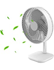 EXTSUD USB Battery Desk Fan, Powerful Airflow 4 wind Speed, Portable Small Silent Desk Fan for Home Office Bedroom Dorm Study (White)
