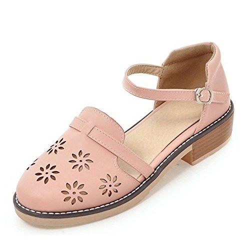 TAOFFEN Mujer Sandalias Comodo Cut-out Al Tobillo Tacon Medio Zapatos Rosado