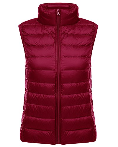 Rouge Femme Veste Légère Ultra Blouson Manteau Gilet Sans Doudoune Vin Manche Parka PxCqSwPAr