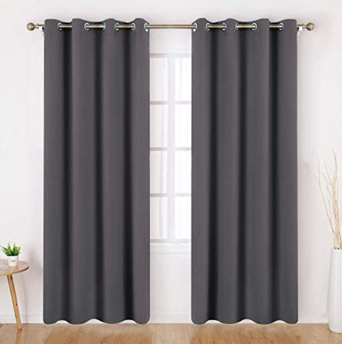 Grey/Gray Blackout Curtains - 2 Panels Room Darkening Window Curtains/Drapes, Thermal Insulated Solid Grommet Window Treatment Panels for Bedroom & Living Room, 52 x 84 Inches