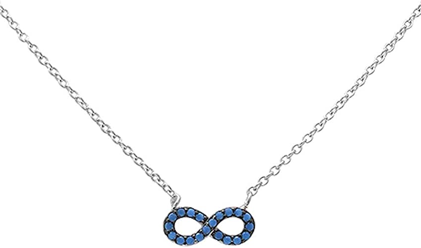 Nano Turquoise Infinity .925 Sterling Silver Pendant Necklace