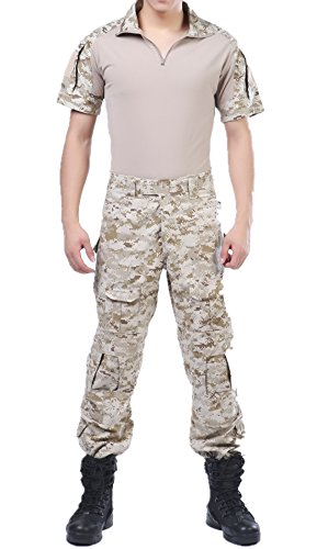 Digital Desert Tactical Camo ACU Combat T-Shirts Top Pant Uniform Sets Ripstop by XinAndy Military