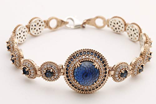Authentic Style Turkish Handmade Jewelry Round Shape Sapphire and Round Cut White Topaz 925 Sterling Silver Tennis Bracelet