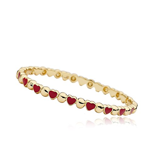 Little Miss Twin Stars Stackable Stunners Alternating 14k Gold-Plated Circles & Red Hearts Bangle