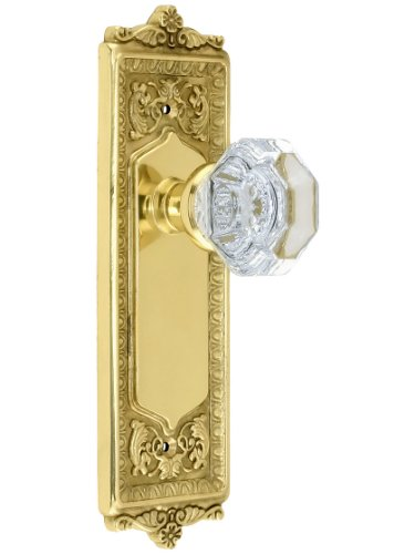 Nostalgic Warehouse 704246 Egg & Dart Plate Door Set with Waldorf Crystal Door Knobs Single Dummy in Antique Brass