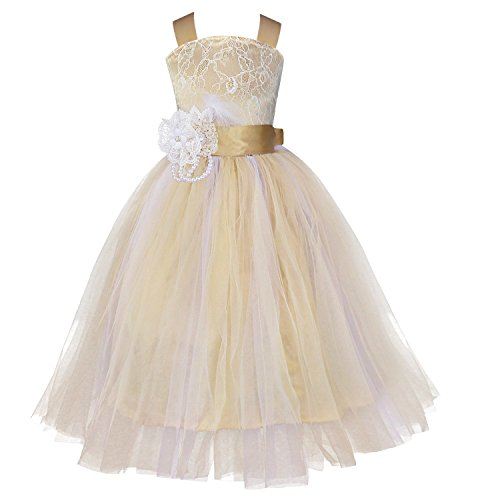 YiZYiF Flower Girl Dress Pageant Wedding Formal Occasions Feather Sash Fluffy Gowns Champagne 4 (Toddler Fancy Dress)