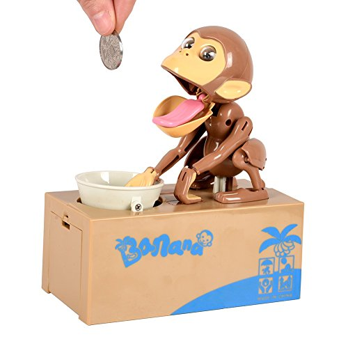 (Smartcoco Coin Bank Saving Box Monkey Stealing Coins Money Cash Storage Box Gift for Kids)