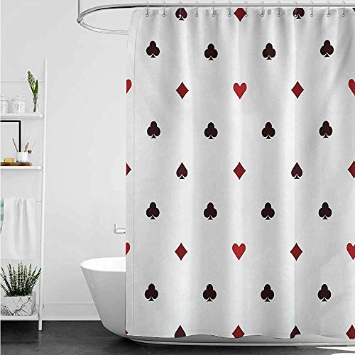 Womens Shower Curtain,Casino Gambling Club Lifestyle Fortune Luck Advertise Minimalistic Design Artwork,Shower Curtains in Bath,W72x72L,Red Ruby Maroon