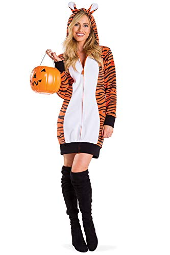 Women's Tiger Costume for Halloween - Female Adult Sexy Tiger Dress Outfit: Large Orange -