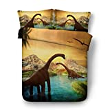Ancient giant beast dinosaur world 3d series bedding - duvet cover and pillowcase, bedroom three-piece bedding (duvet cover + 2 pillowcases), Prevent moisture, hypoallergenic, Twin, Queen bed
