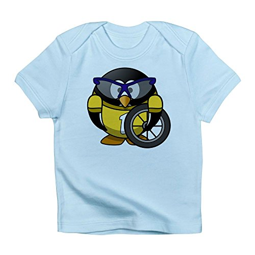 Truly Teague Infant T-Shirt Little Round Penguin - Cyclist in Yellow Jersey - Sky Blue, 6 to 12 Months