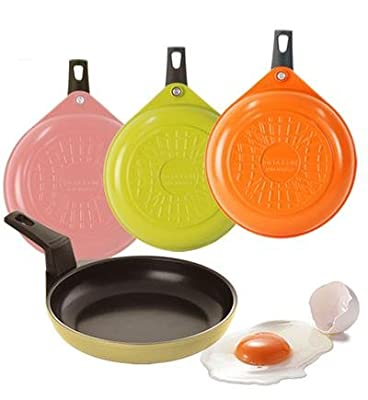 "Neoflam Ecolon Amie 16cm(6"") Cast Aluminum Egg Pan(PTFE & PFOA Free), Round Type_Pink,Orange,Green,Light Yellow : Ecolon Non-Stick Coating, highly scratch resistant durability"