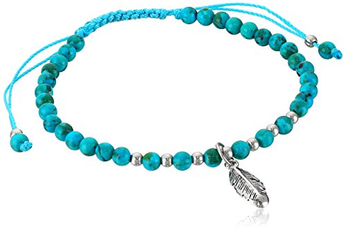Sterling Silver Synthetic Compressed Turquoise Beaded Feather Adjustable Bracelet (Sterling Silver Beaded Bracelets Turquoise)