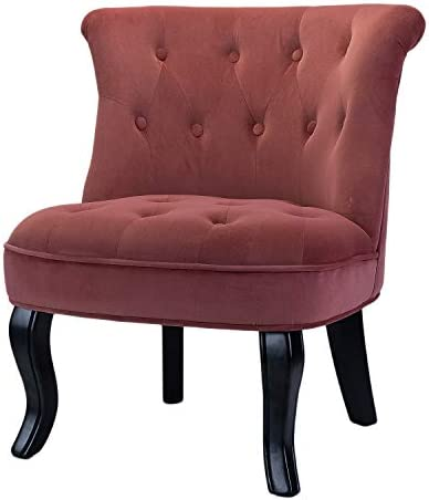 Dark Pink Upholstered Chair Set of 2 / Jane Tufted Velvet Armless Side Chair