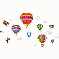 Guoainn Cartoon Airplane Hot Air Balloons,Removable Wall Sticker,Kids Room Home Decal