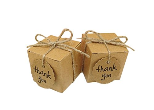(Yalulu 50pcs Kraft Paper Pillow/Square Candy Box Rustic Wedding Favors Candy Holder Bags Wedding Party Gift Boxes with Thank You Tags)
