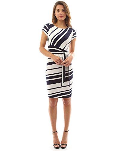(PattyBoutik Women's Striped Crewneck Cap Sleeve Dress (Navy Blue and Ivory M))