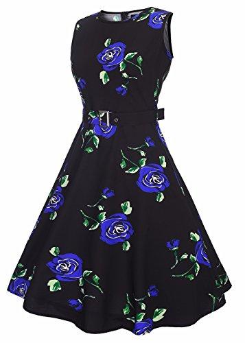 Mujeres Vintage 1950s Floral Lemon Primavera Garden Party Dress Partido vestido de cóctel Flor azul