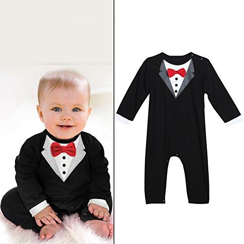 Baby Boys Gentlemen Bowknot Rompers Long Sleeve Bodysuit - 8
