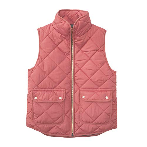 iQKA Women Lightweight Stand Collar Zip Up Quilted Gilet Puffer Padding Jacket Vest(Brown,X-Large) for $<!--$10.95-->