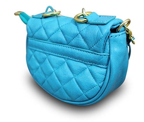 Made In Italy Borsa A Tracolla Da Donna Di Lusso Con Pochette A Tracolla Catena Boho Vintage In Nappa Blu