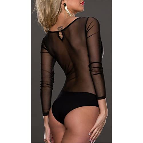 Womens Crew Neck Long Sleeve Clubwear Bodycon Short Jumpsuit Romper Bodysuit