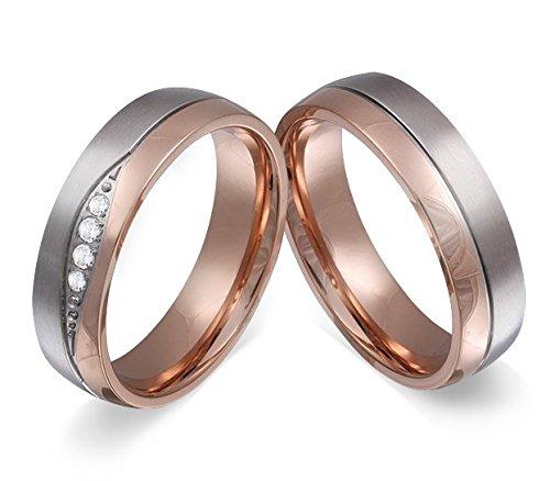 Adomio Ringe 2 Trauringe Verlobungsringe Edelstahl Rosegold